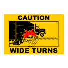 Caution Wide Turns Truck Decal